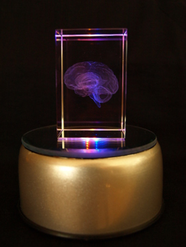 Crystal Cube 3d Brain Holographic Laser Etched With 4 Led