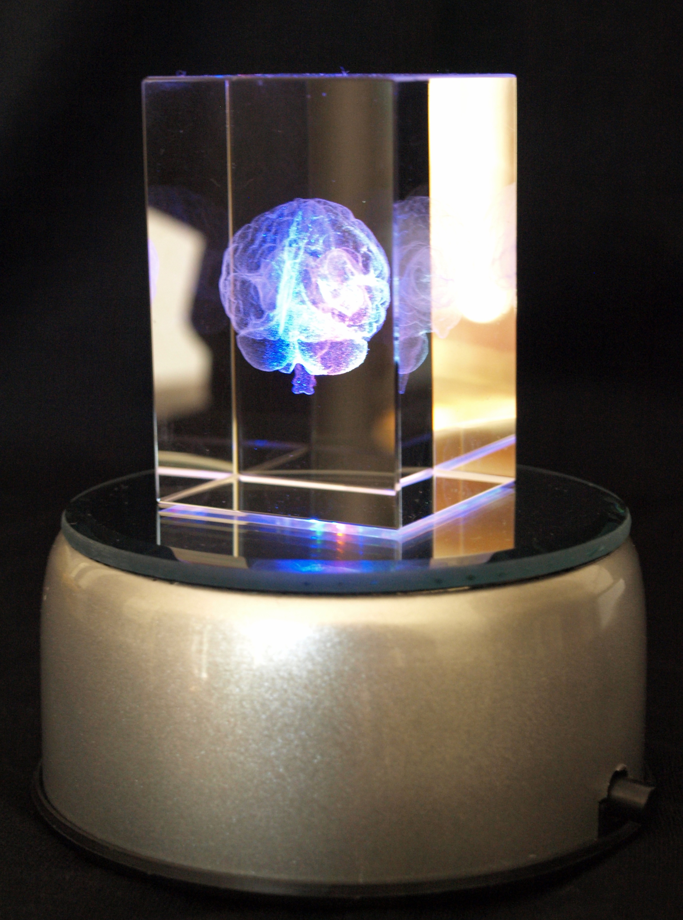 Led Shop Lights >> Crystal Cube 3D Brain Holographic laser etched with 4 LED lighted base.